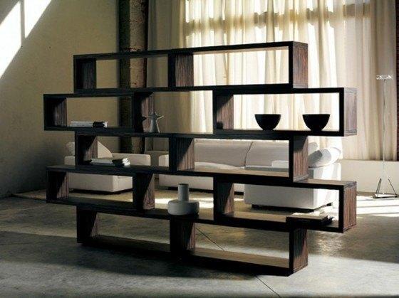 Ideas y propuestas de repisas de madera modernas - Estanterias separadoras de ambientes ...