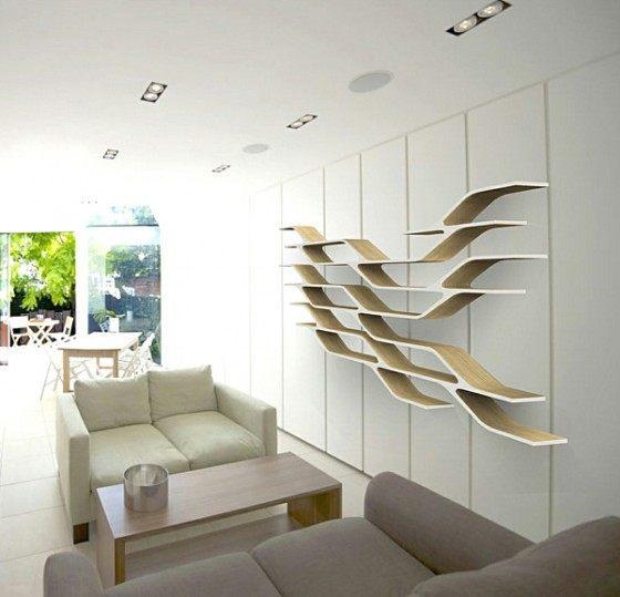 Repisas de madera y modernas para la pared for Estantes modernos