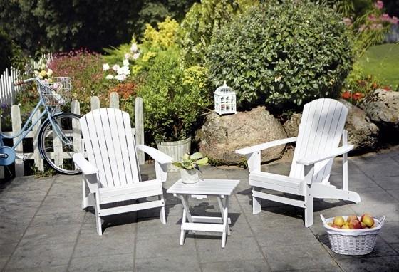 Silla jardin madera blanca for Sillas madera jardin