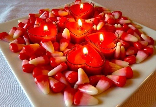 centro de mesa con caramelos para san valentn