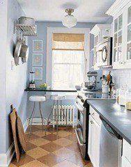 Cocina pequeña en blanco y gris