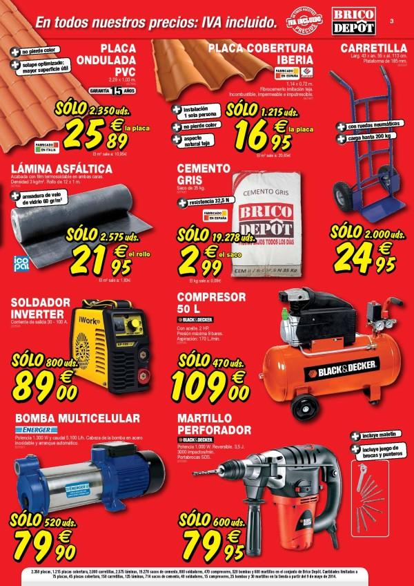 Bricodepot mayo 2014 herramientas for Precio mano de obra colocacion tela asfaltica