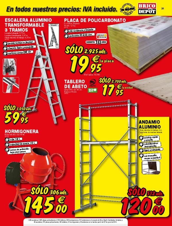 Brico depot catalogo julio 2014 escalera andamio for Chapas para tejados bricodepot