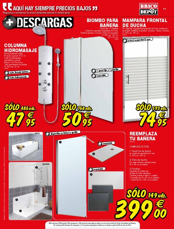 Catalogo brico depot agosto 2014 duchas mamparas for Mampara ducha bricomart