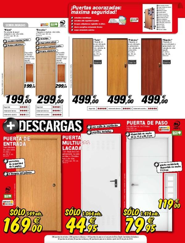 Catalogo brico depot agosto 2014 puertas oferta for Precio de puertas blindadas en brico depot
