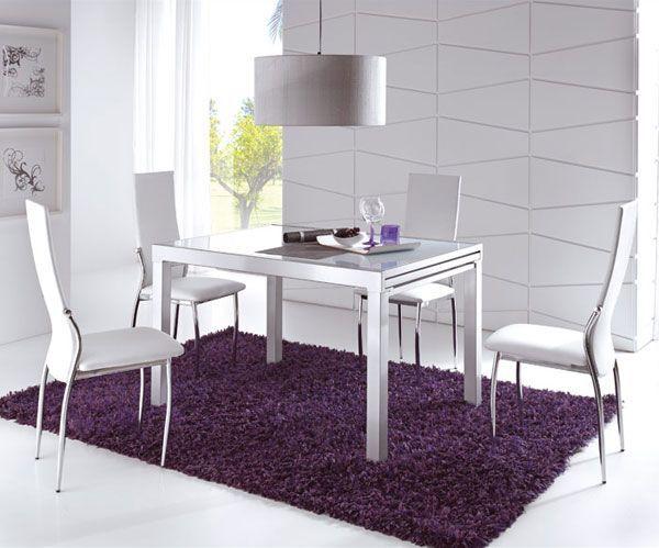 Comedores modernos mesa cristal extensible muebles tuco for Mesa cristal tuco