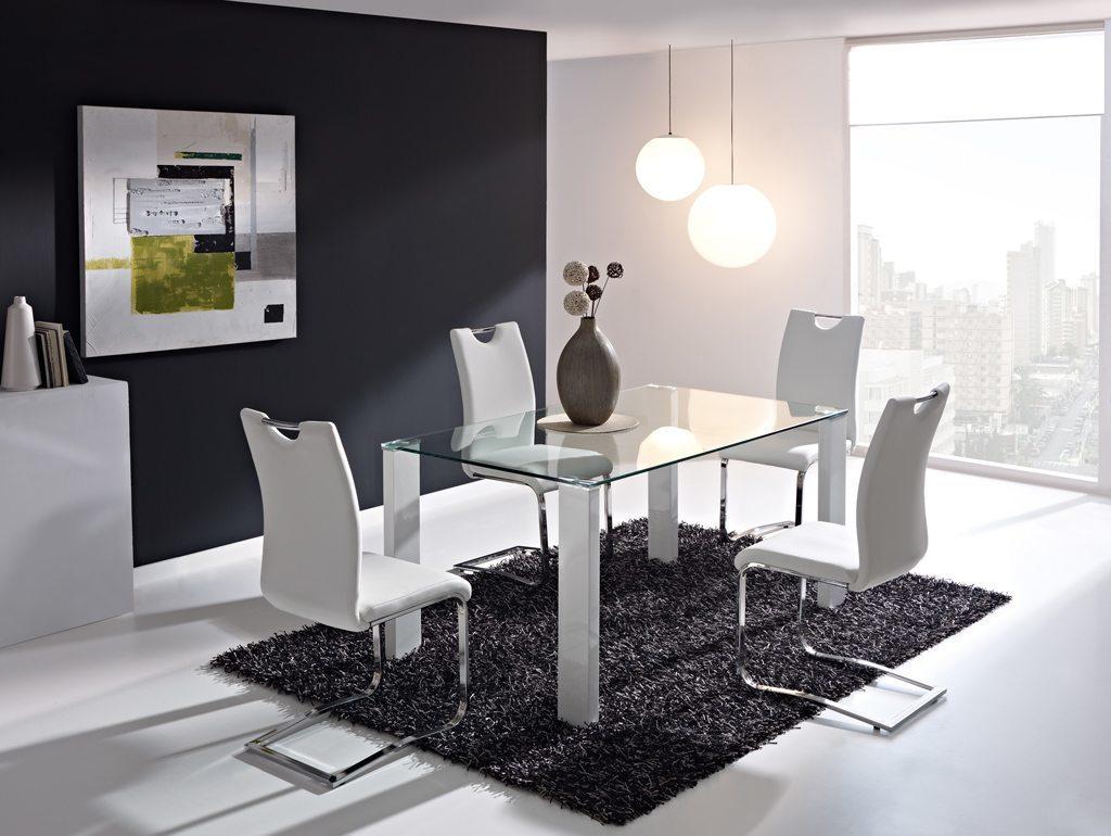 comedores modernos mesa cristal sillas metal blanco