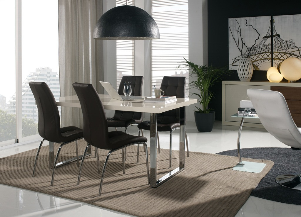 Comedores modernos mesa lacada sillas polipiel muebles rey for Comedores modernos 2016 precios