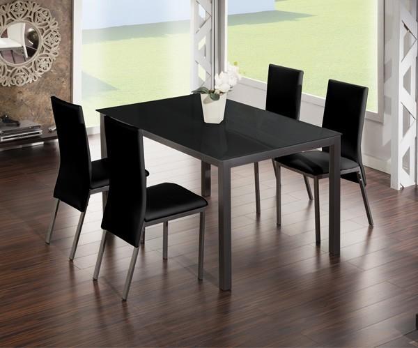 Comedores modernos mesa negra for Sillas negras tapizadas