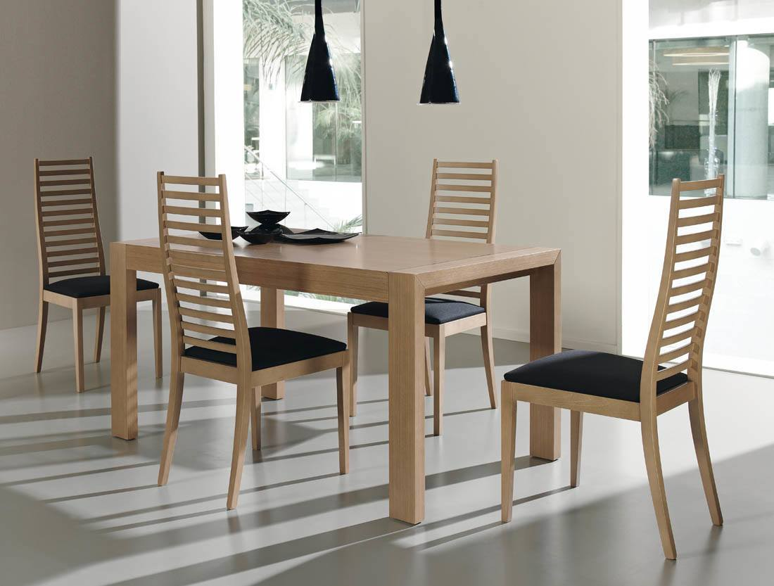 Comedores modernos muebles comedor madera moderna facil for Mesas para comedores pequea os