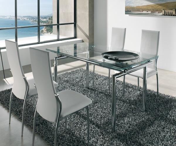 Comedores modernos de 8 sillas de vidrio for Mesas para muebles modernas