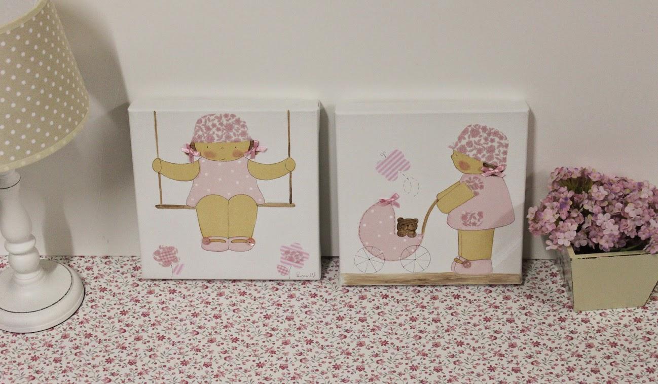 Cuadros infantiles para decorar una habitacion tonos rosas Cuadros para decorar habitaciones infantiles