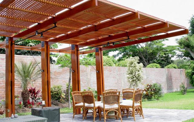 De 50 ideas de techos de madera para terrazas for Terraza madera exterior