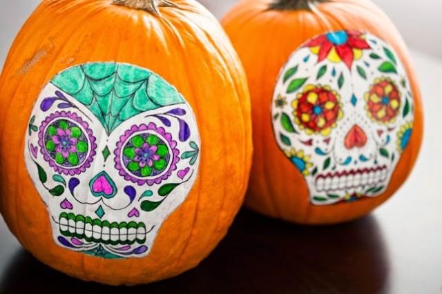 Decoración de calabazas para Halloween 2015-calaveras-mexicanas