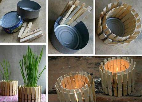 Pinzas-de-madera-y-latas-para-hacer-un-portavelas