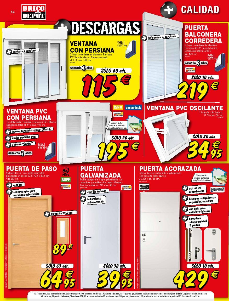 13 brico depot catalogo diciembre 2014 puertas ventanas for Precio de puertas home depot
