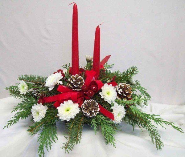 Centro de mesa navidad pino y velas for Centro mesa navidad