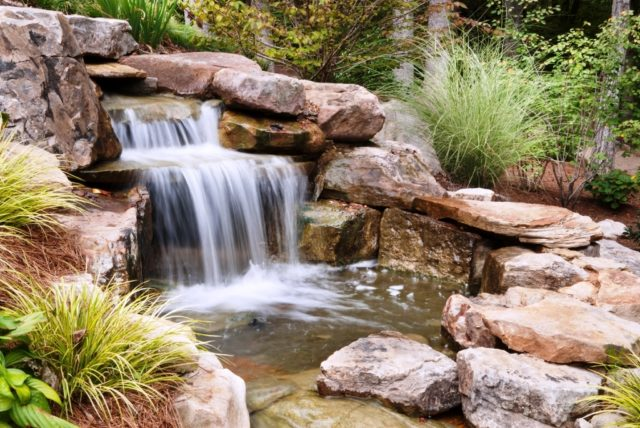 Fountains-with-pond-with-waterfall-with-several-levels