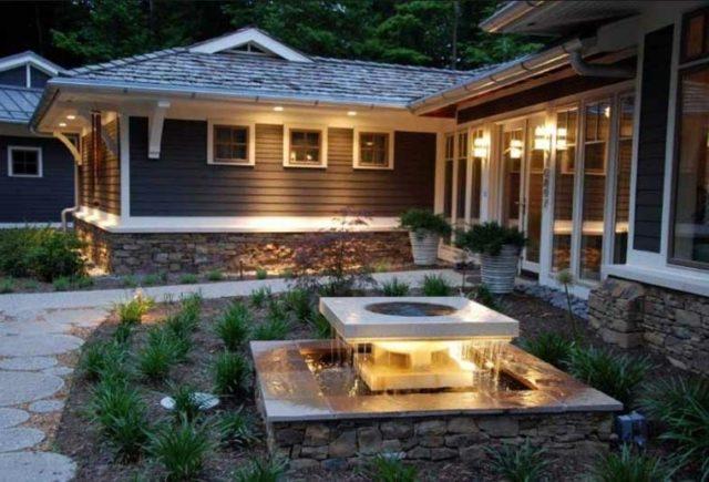 Fountains Garden With Lights Design Modern