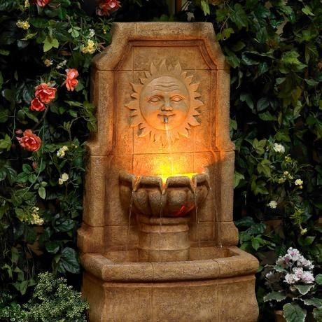 Perfect Fountains Garden With Lights Design Stone Sun