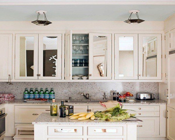 Kitchen cabinets with mirrors