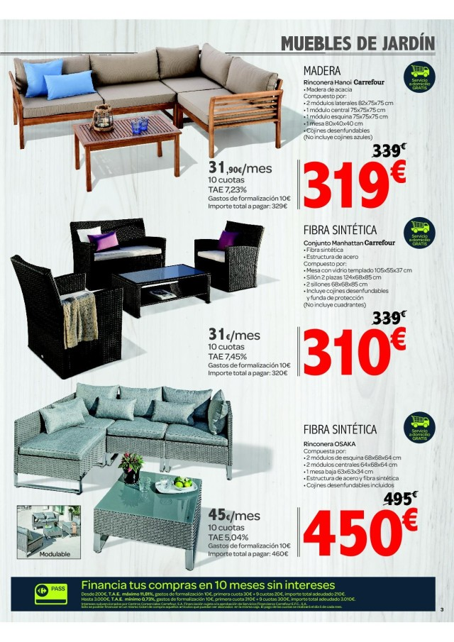 Cat logo carrefour muebles de jard n mayo 2017 for Catalogo carrefour muebles