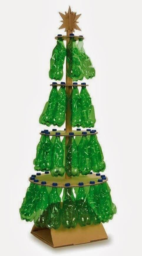Recycled Christmas tree made with plastic bottles