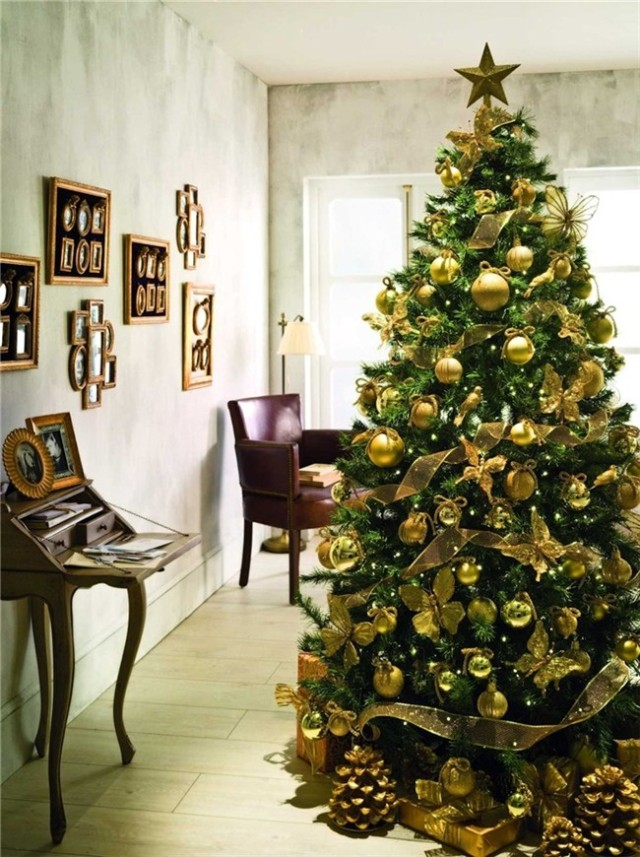 arbol-navidad-decoracion-fotos-2015-tendencias-de-color-dorado