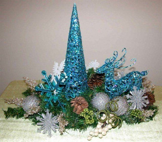 table top turquoise christmas centers - Teal And Gold Christmas Decorations