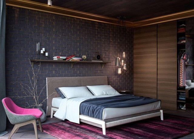 cabeceros-de-cama-originales-en-gris-con-pared-negra