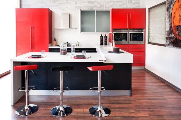 M s de 25 fotos con ideas de cocinas rojas for Cocinas blancas y grises fotos