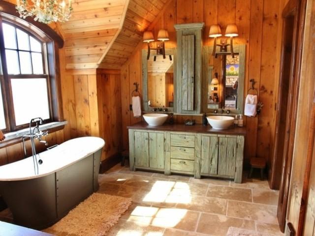50-fotos-con-ideas-de-decoracion-para-baños-rusticos-2016-baños-pared-madera-bañera-rustica