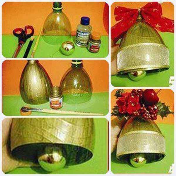 Decoration-christmas-with-bottles-plastic-bells