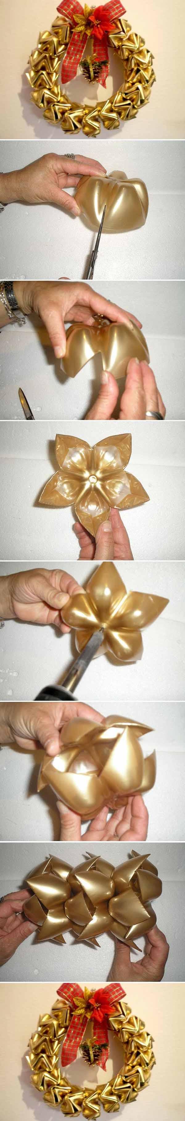 decoracion-navidad-con-botellas-plasticas-corona-pasos