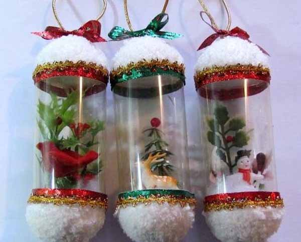 Christmas decorations with plastic bottles