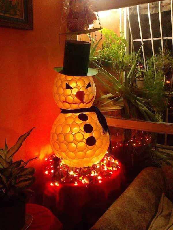 decoracion-navidad-reciclaje-muneco-de-nieve