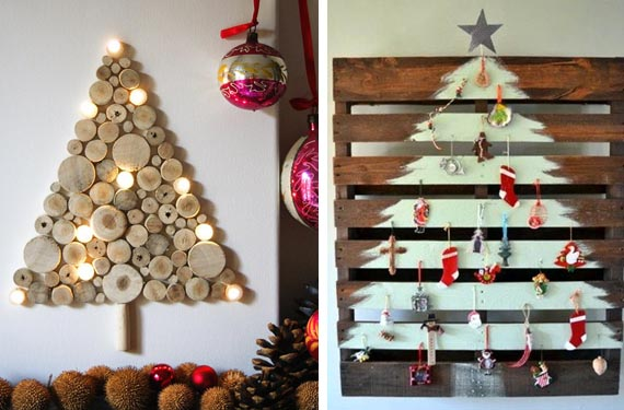 arboles-de-navidad-de-madera-a-la-pared