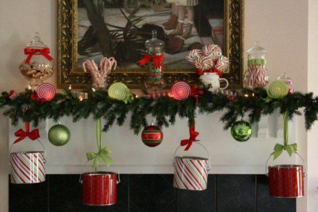 Balls-of-christmas-with-posters-red-plants-centers-fireplace