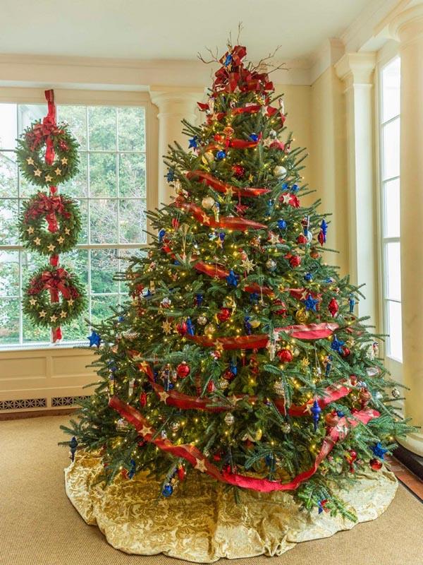 decoracion-de-arboles-de-navidad-azul-roja