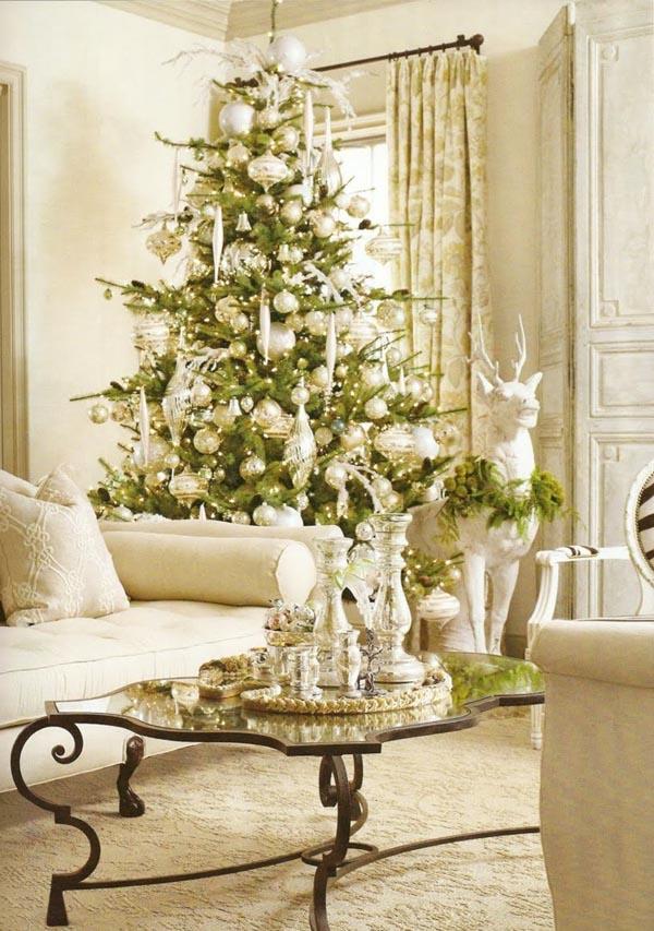decoracion-de-arboles-de-navidad-blanca-plata