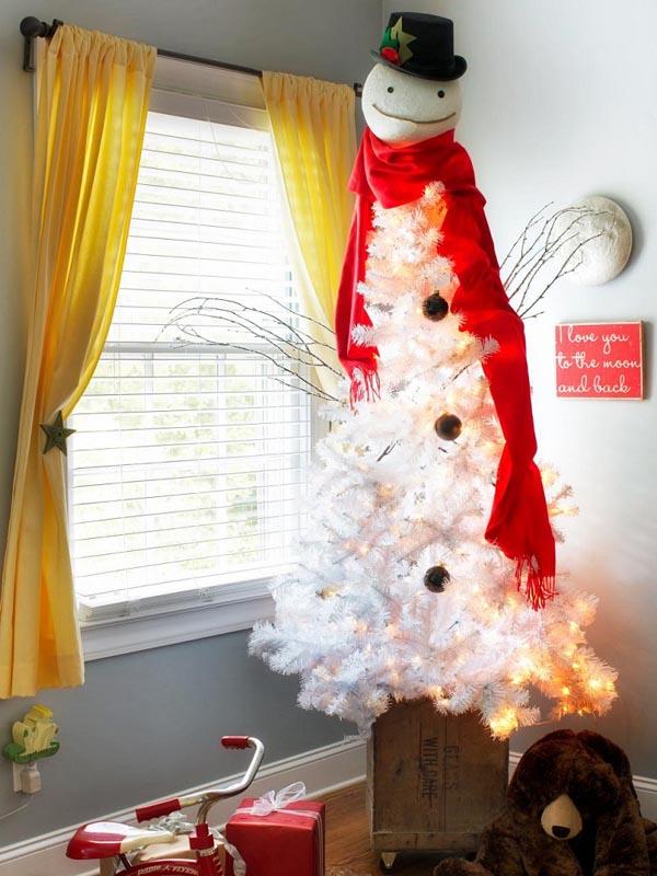 decoracion-de-arboles-de-navidad-blanco-bufanda-roja