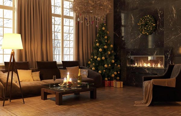 Decoration-of-trees-of-christmas-living-spacious-modern