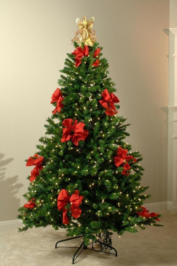 decoracion-de-arboles-de-navidad-simple-lazos-rojos