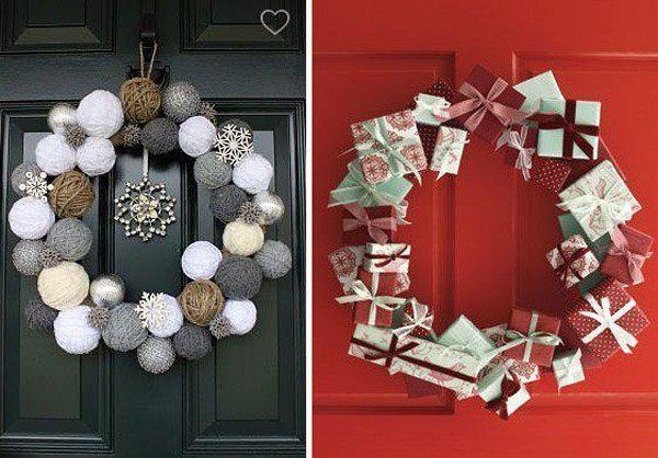 Christmas decoration-for-doors-crowns-balls-and-gifts