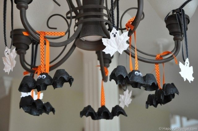 decoracion halloween adornos murcielagos carton huevos - Decoraciones De Halloween