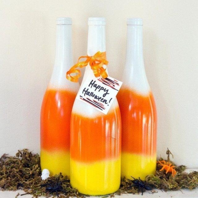 decoracion-halloween-botellas-pintadas-tres-colores
