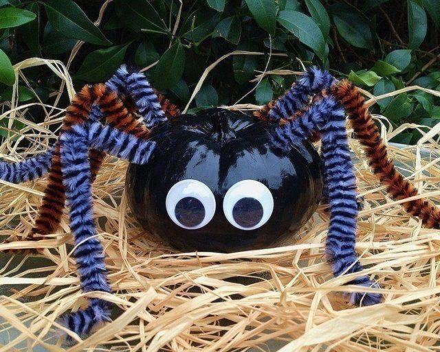 decoracion-halloween-calabata-pintada-tarantula-negra