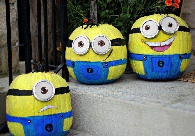 decoracion-halloween-calabazas-piintadas-minions