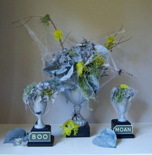 Decoracion-halloween-flores-copas-telaranas-grays