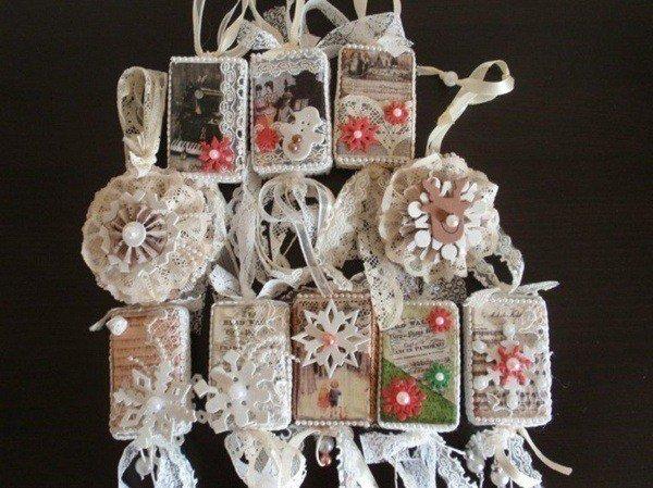 decoracion navidena vintage copos nieve tela blanca - Decoracion Navidea